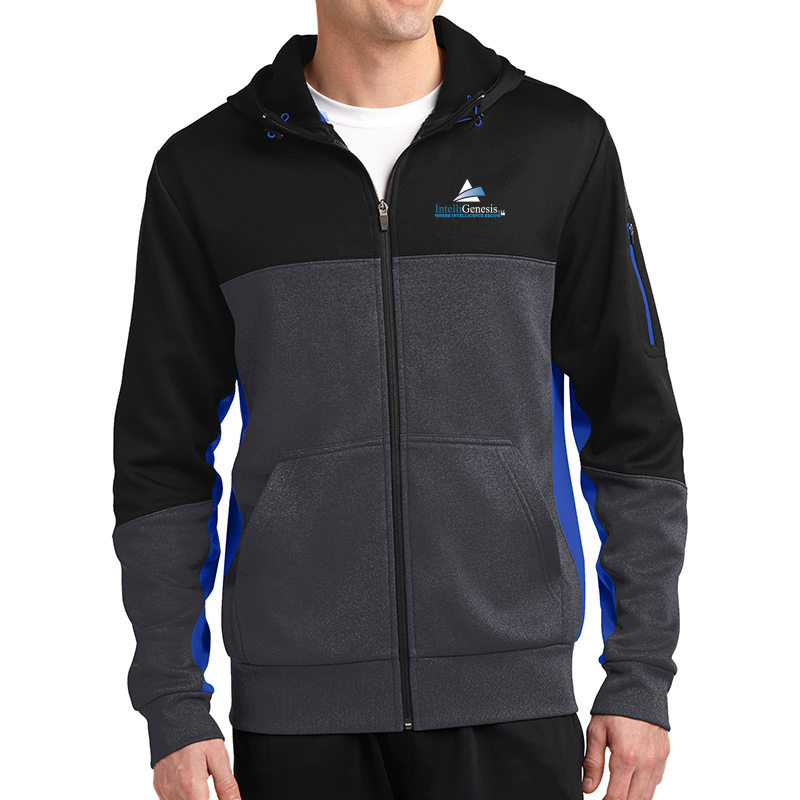 IntelliGenesis Sport Tek Tech Fleece Colorblock Full Zip hooded Jacket - Black/ Graphite Heather/ True Royal