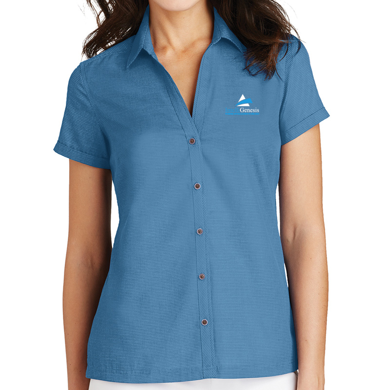 Intelligenesis Ladies Textured Camp Shirt  - celadon