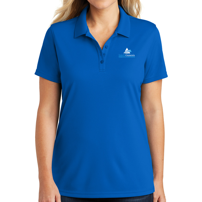 IntelliGenesis Sport Tek Ladies Posi Charge Electric Heather Polo - Silver Electric