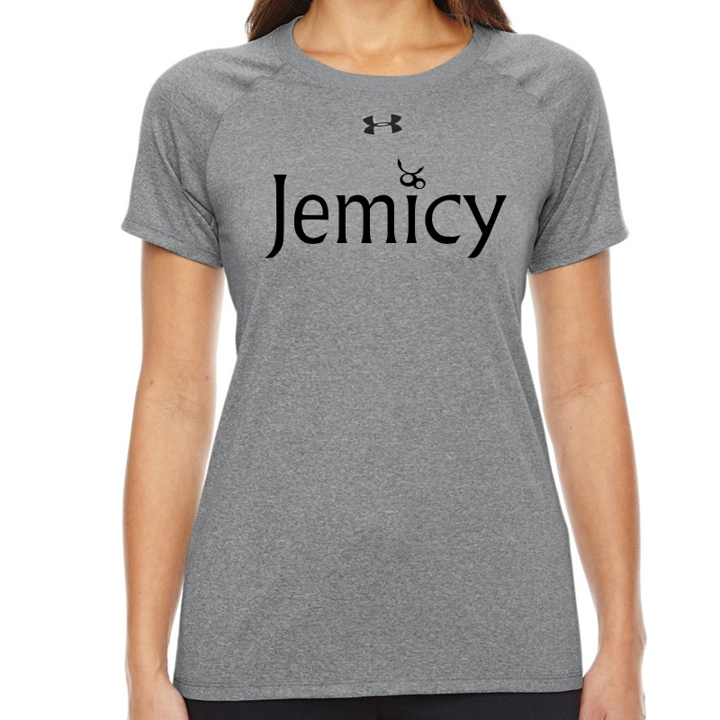Jemicy Text  Under Armour Ladies' Locker T-Shirt -  True Gray