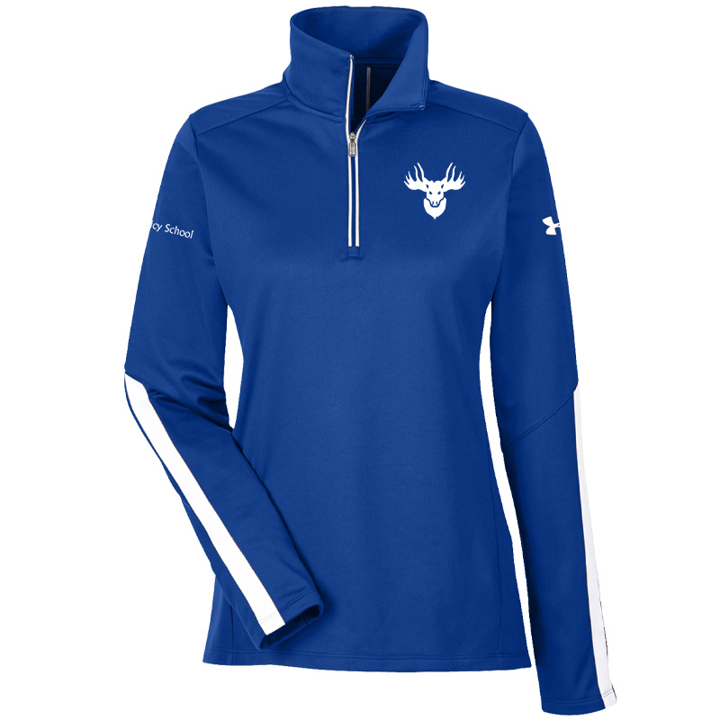 Jemicy Faculty Moose/Jemicy School Text  Under Armour Ladies' Qualifier 1/4 Zip  - Royal
