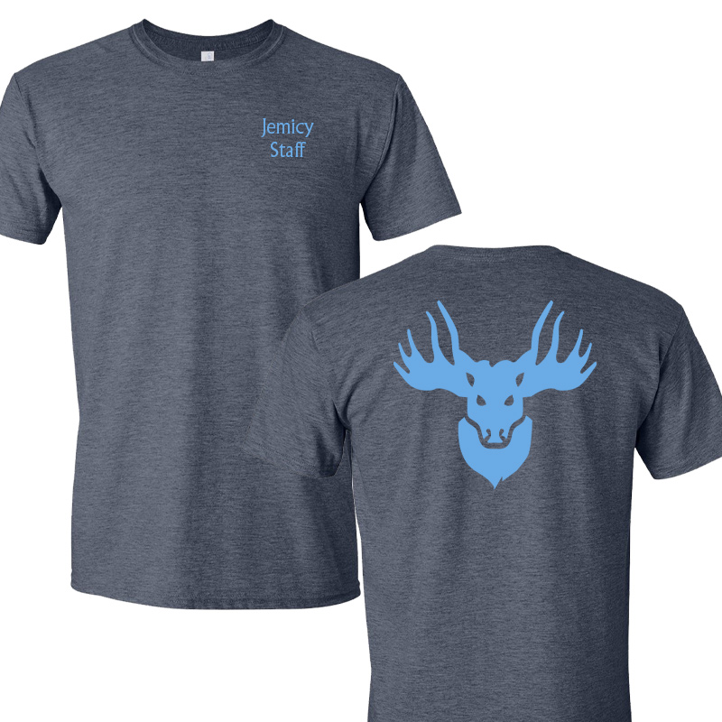 Jemicy Faculty Moose w text Softstyle Short  Sleeve Tee - Heather Royal/Charcoal