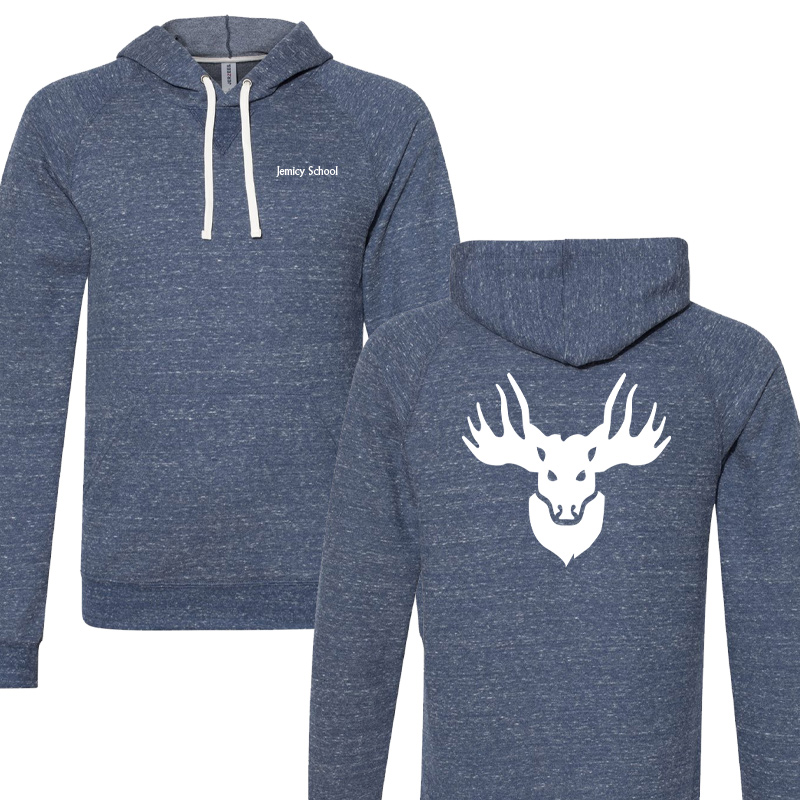 Jemicy Faculty Text/Faculty Moose Snow Heather French Terry Raglan Hoodie  - navy
