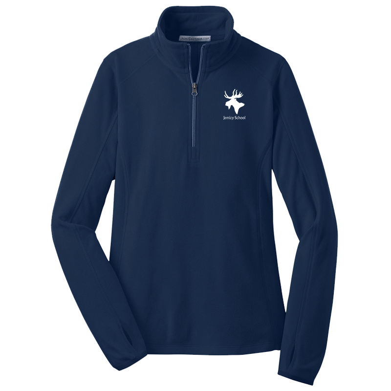 Jemicy FacultyMoose  Sillhouette/text ¼ zip ladies pullover  - Light Royal