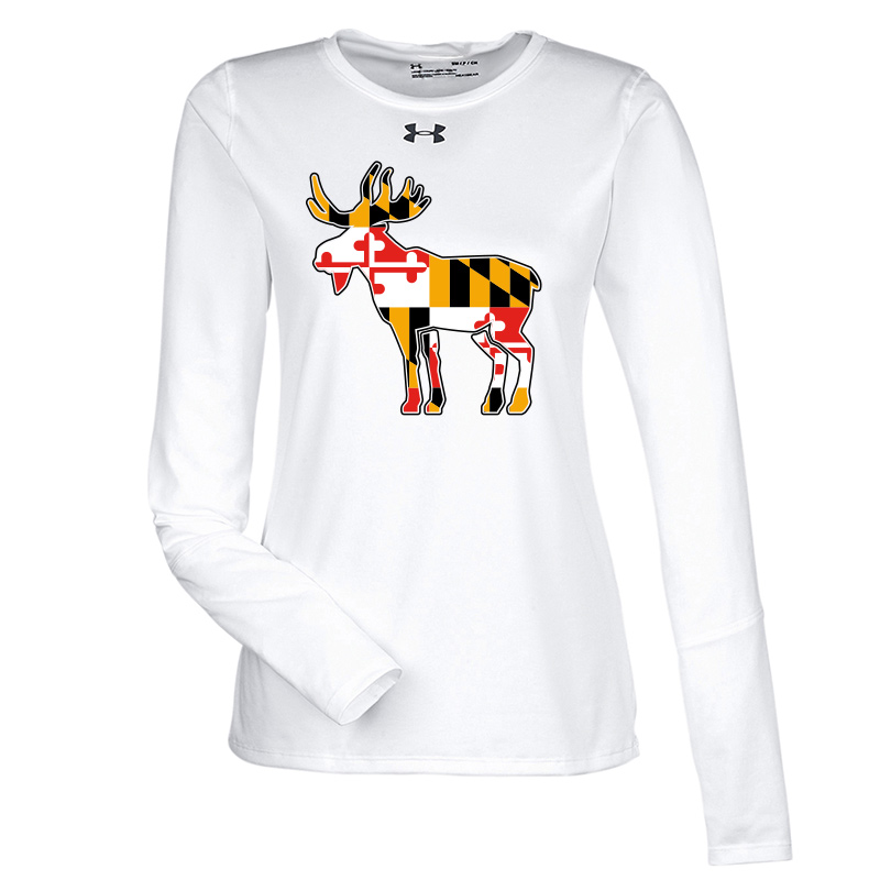 Jemicy Moose MD Flag  UA Ladies L/S Tee - White