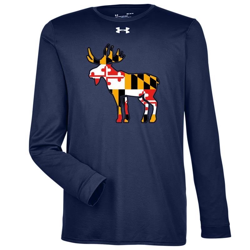 Jemicy Moose MD Flag  UA L/S Tee  - Navy