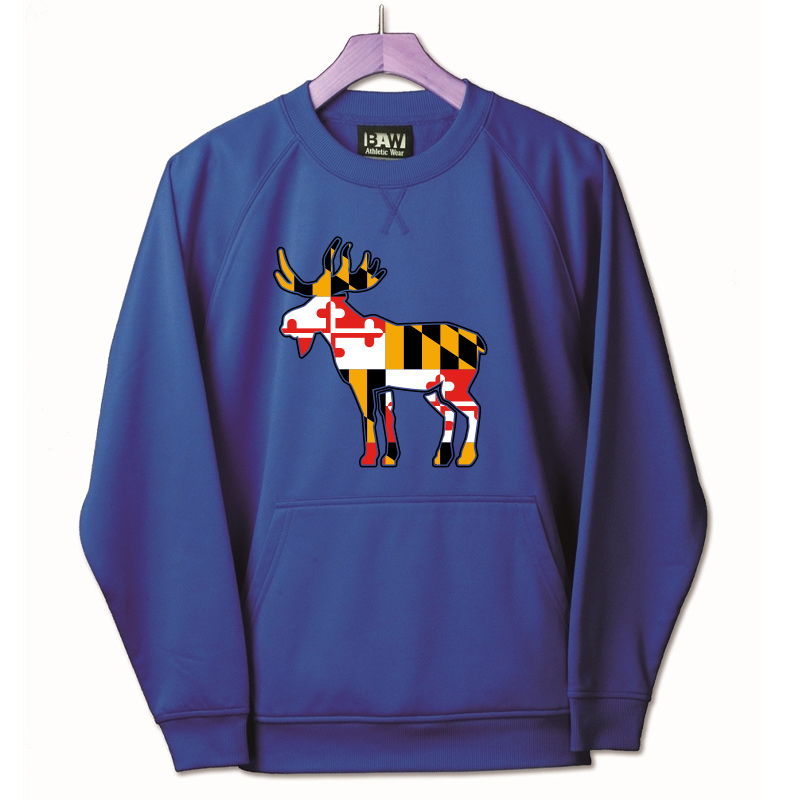 Jemicy Moose MD Flag  Pullover Crew  - Royal