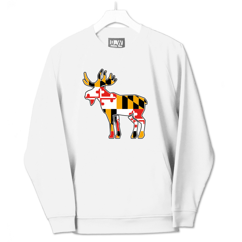 Jemicy Moose MD Flag  Pullover Crew  - White