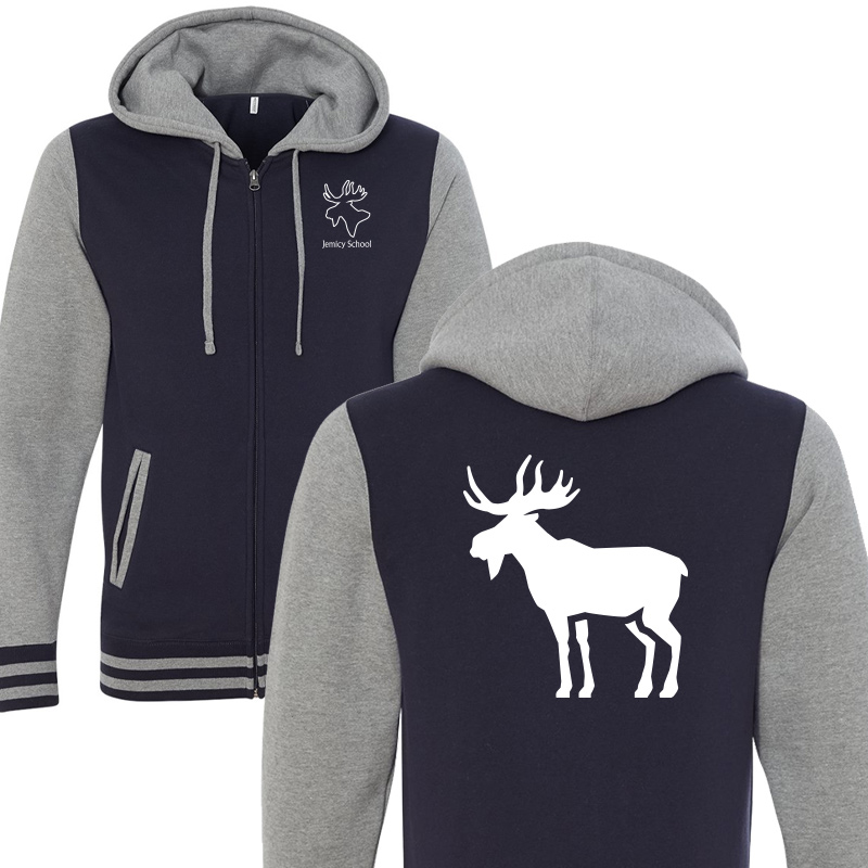 Jemicy Moose Unisex Varsity Full-Zip Hooded Sweatshirt - Navy