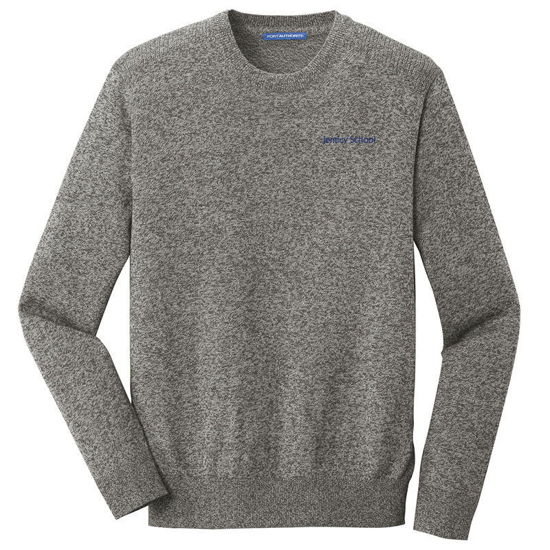 Jemicy Text Marled Crew Sweater – Warm Grey