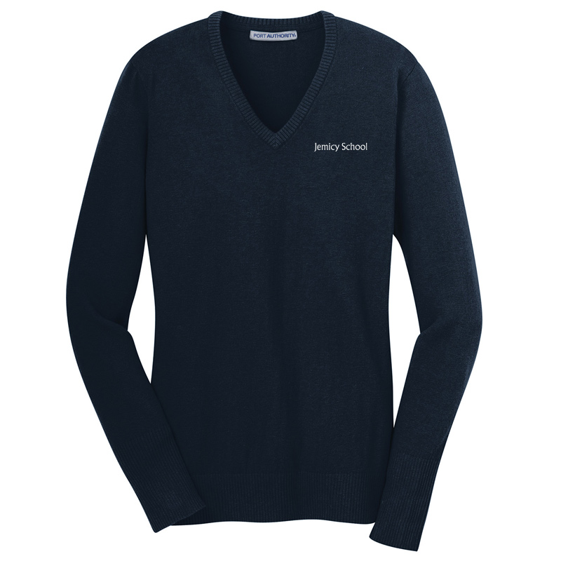 Jemicy Text Ladies V-Neck Sweater - Navy