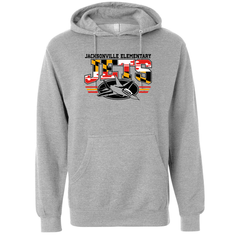 JES MD Flag Logo  Midweight Hooded Pullover Sweatshirt  - Grey Hthr