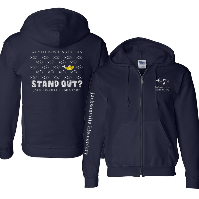 JES Standout Adult DryBlend 9.0 oz., 50/50 Full-Zip Hood - Navy