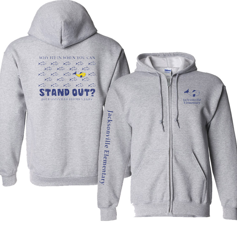 JES Standout Youth DryBlend 9.0 oz., 50/50 Full-Zip Hood - Sports Grey