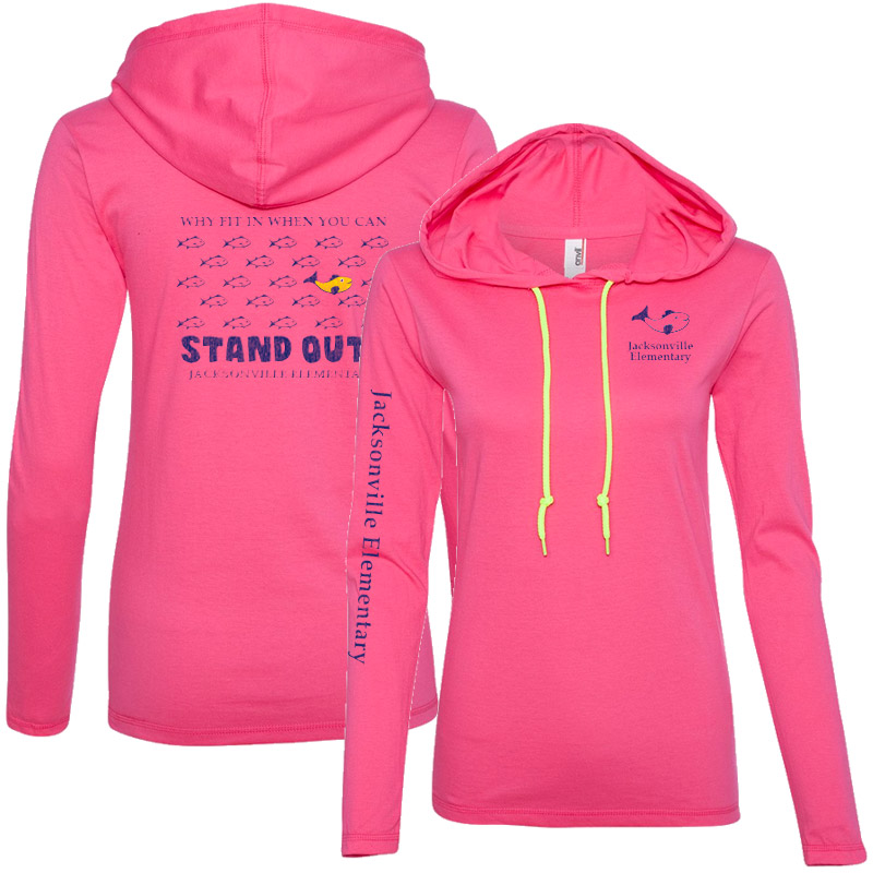JES Standout Ladies' Lightweight Long-Sleeve Hooded T-Shirt - Hot Pink