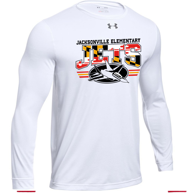 JES MD Flag Logo  UA Long Sleeve  Locker Tee  - White