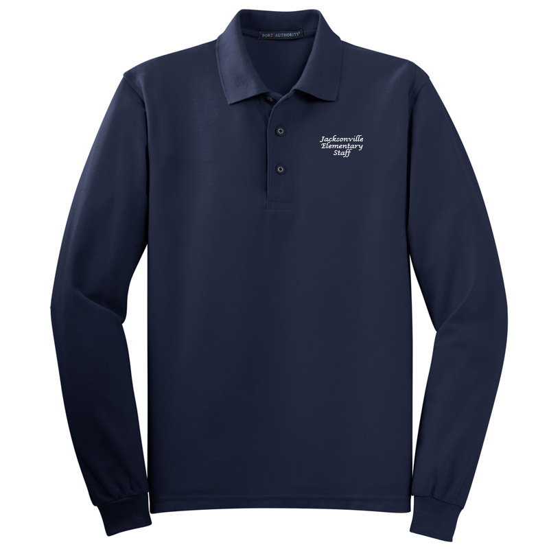 JES  Silk Touch™ Long Sleeve Polo Polo - Navy