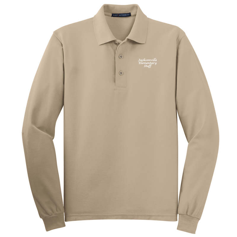 JES  Silk Touch™ Long Sleeve Polo Polo - Stone