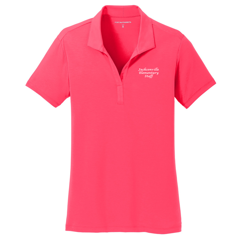 JES  Ladies Cotton Touch Polo - Hot Coral