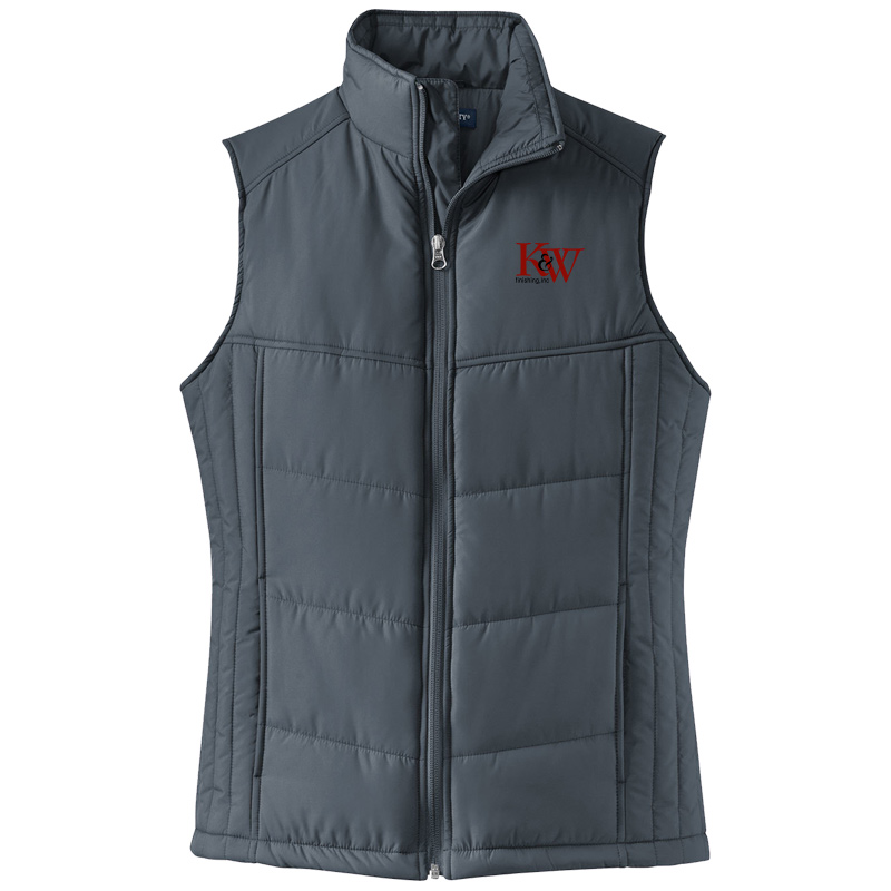 K&W Finishing Ladies Puffy Vest - Dark Slate Blue