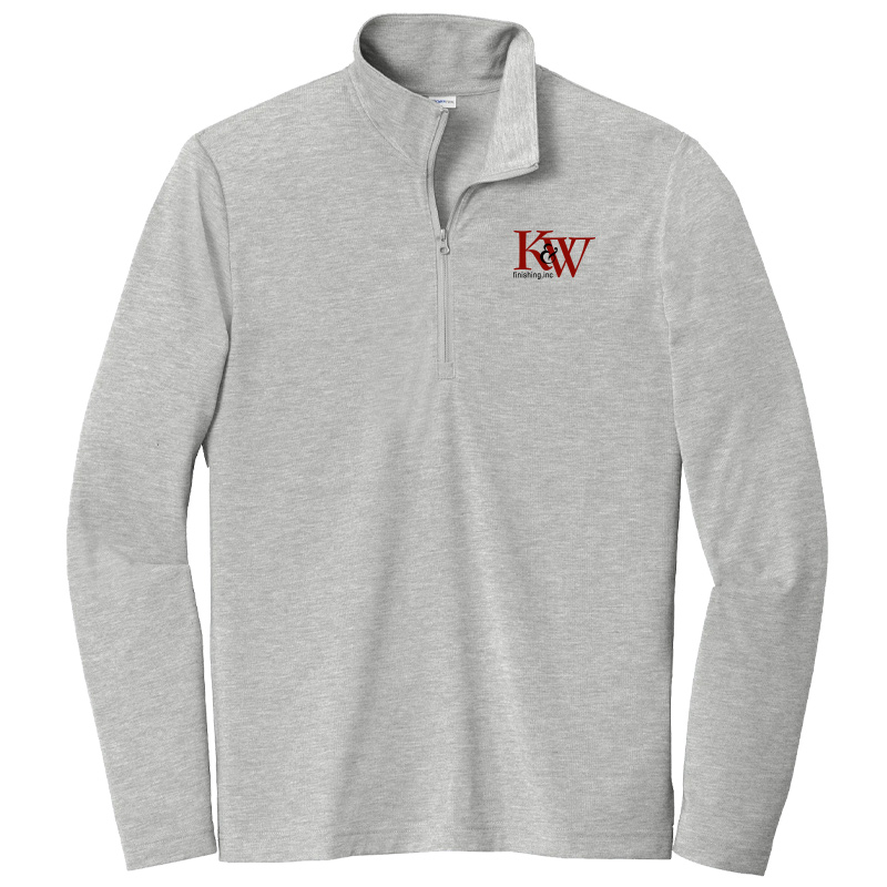 K&W Finishing Tri-Blend Wicking 1/4-Zip Pullover - Light Grey Heather