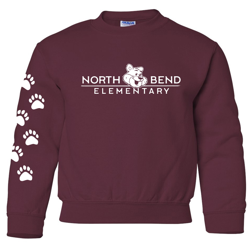North Bend Elementary Crewneck Sweatshirt (Youth and Adult)  - maroon