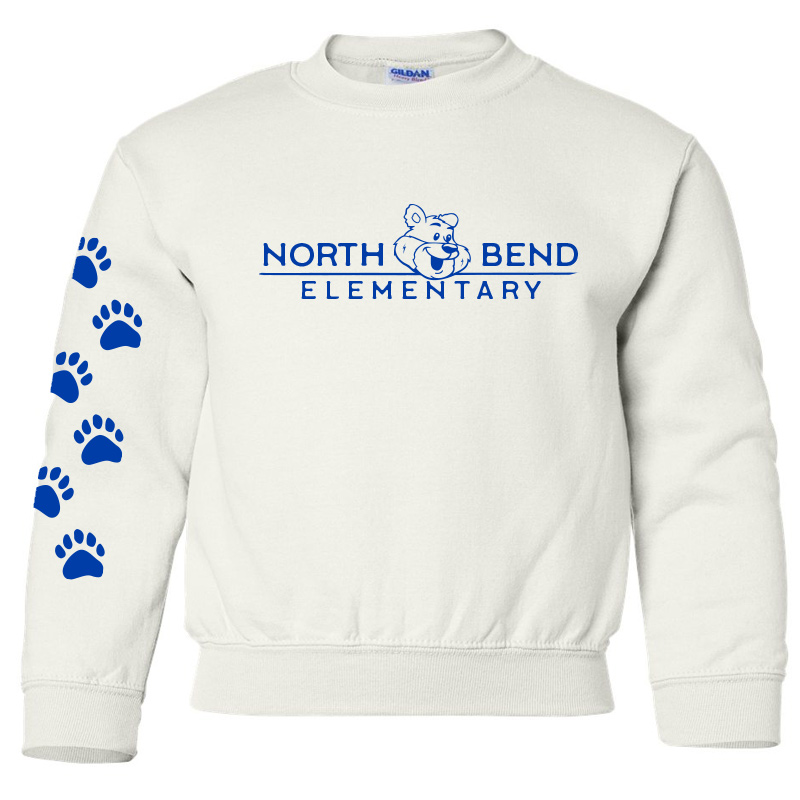 North Bend Elementary Crewneck Sweatshirt (Youth and Adult)  - white
