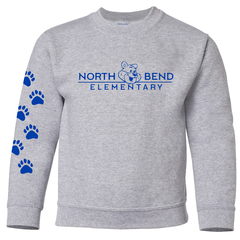 North Bend Elementary Crewneck Sweatshirt (Youth and Adult)  - sport grey