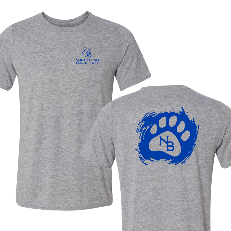 North Bend Paw  Performance Adult T-Shirt (Youth and Adult)  - sportgrey