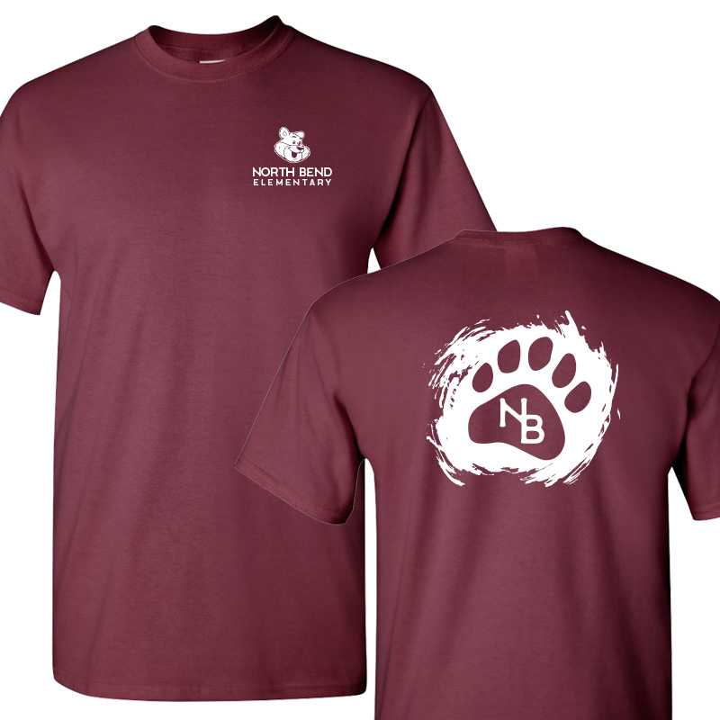 North Bend Paw  Cotton Adult T-Shirt (Youth and Adult)  - maroon