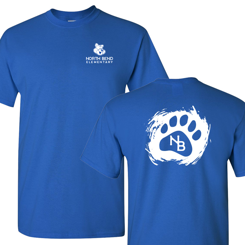 North Bend Paw  Cotton Adult T-Shirt (Youth and Adult)  - royal