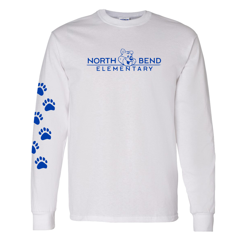 North Bend Elementary Cotton Adult Long Sleeve T-Shirt (Youth and Adult)  - White