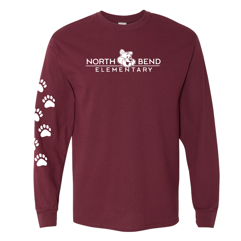 North Bend Elementary Cotton Adult Long Sleeve T-Shirt (Youth and Adult)  - maroon