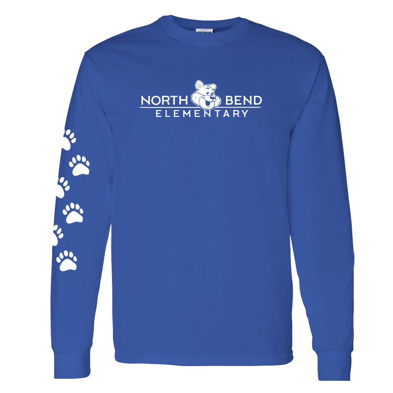 North Bend Elementary Cotton Adult Long Sleeve T-Shirt (Youth and Adult)  - royal