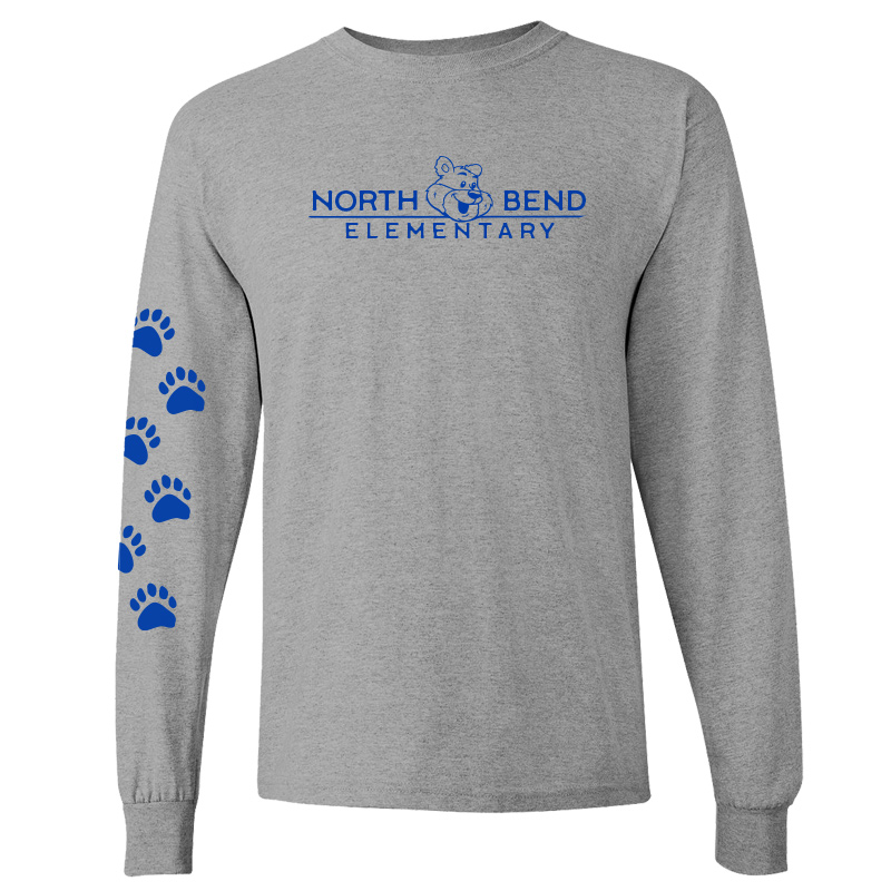 North Bend Elementary Cotton Adult Long Sleeve T-Shirt (Youth and Adult)  - sportgrey