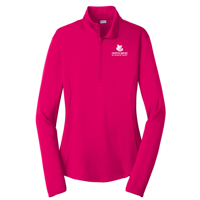 North Bend Logo Ladies PosiCharge Competitor 1/4-Zip Pullover - Pink