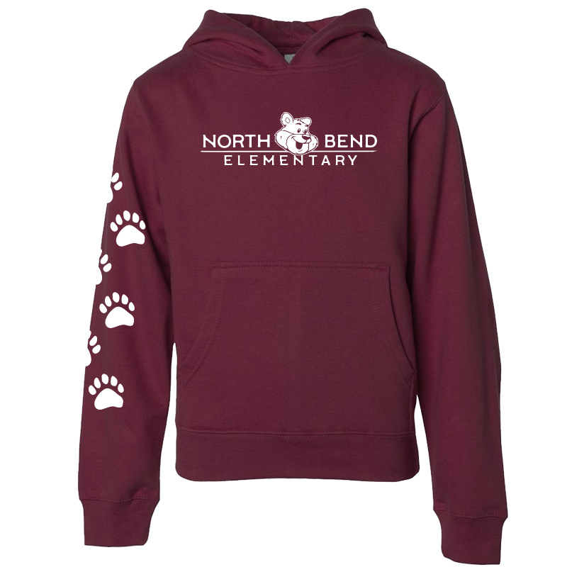 North Bend Elementary Pullover Hoodie (Youth and Adult)  - maroon