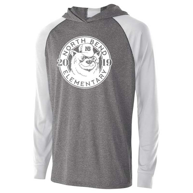 North Bend 2019 Circle  Echo Hoodie - Graphite Heather White