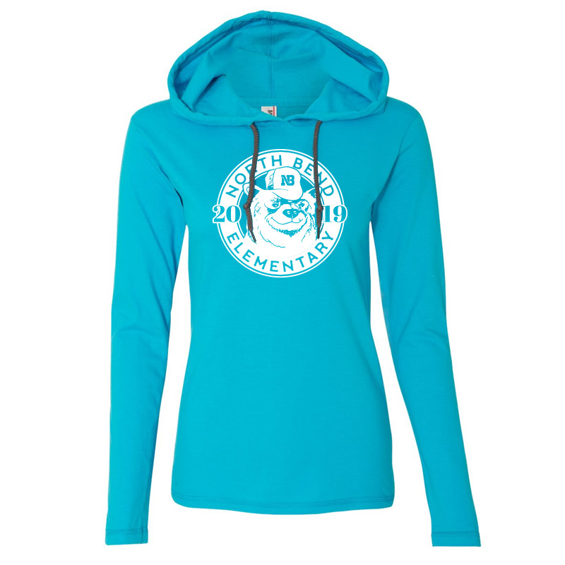 North Bend 2019 Circle  Women'S Lightweight Hooded Long Sleeve T-Shirt- Caribbean Blue