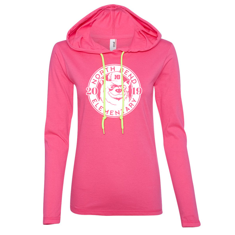 North Bend 2019 Circle  Women'S Lightweight Hooded Long Sleeve T-Shirt- Hot Pink