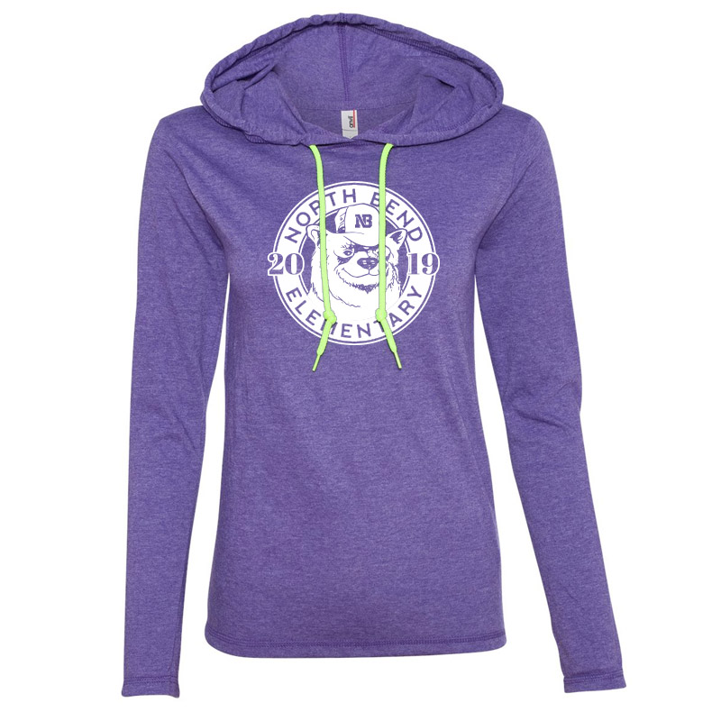 North Bend 2019 Circle  Women'S Lightweight Hooded Long Sleeve T-Shirt- Heather Purple