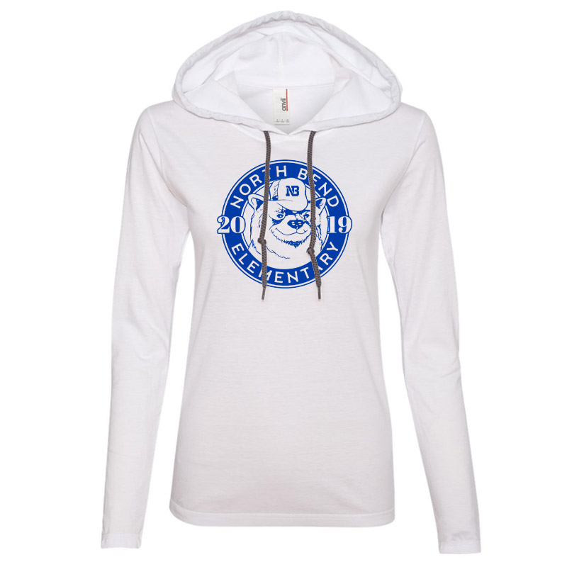 North Bend 2019 Circle  Women'S Lightweight Hooded Long Sleeve T-Shirt- White