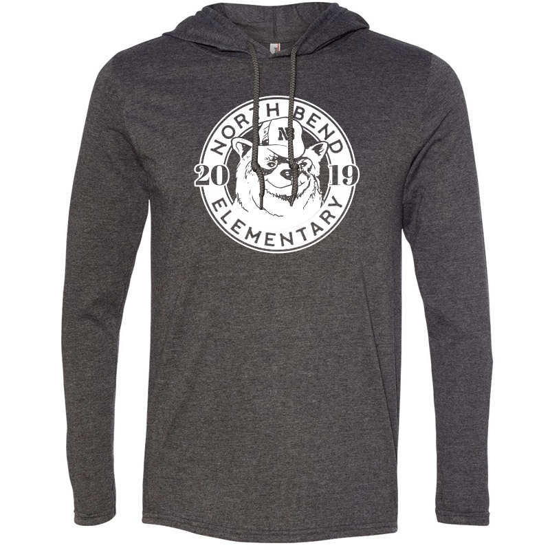 North Bend 2019 Circle  Lightweight Hooded Long Sleeve T-Shirt - Heather Dark Grey