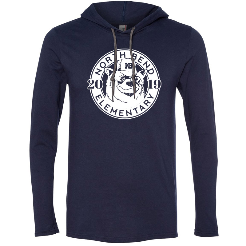 North Bend 2019 Circle  Lightweight Hooded Long Sleeve T-Shirt - Navy