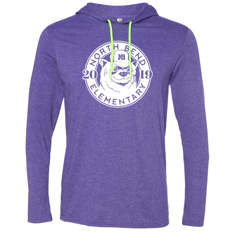 North Bend 2019 Circle  Lightweight Hooded Long Sleeve T-Shirt - Heather Purple
