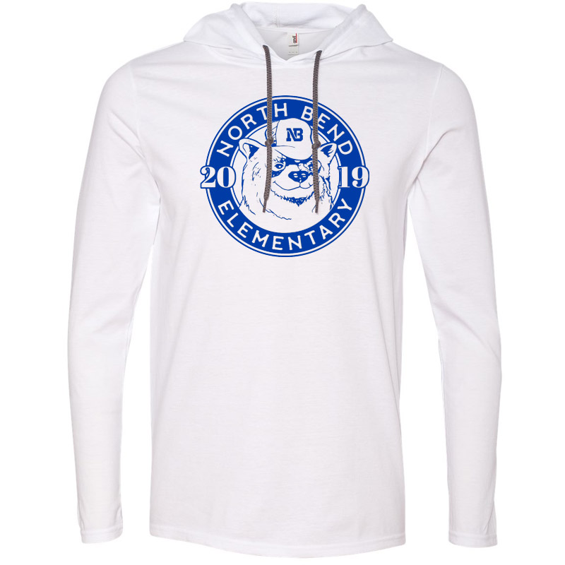 North Bend 2019 Circle  Lightweight Hooded Long Sleeve T-Shirt - White