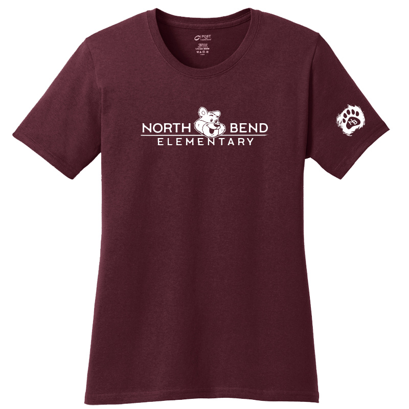 North Bend Elementary Ladies Core Cotton Tee - Athletic maroon