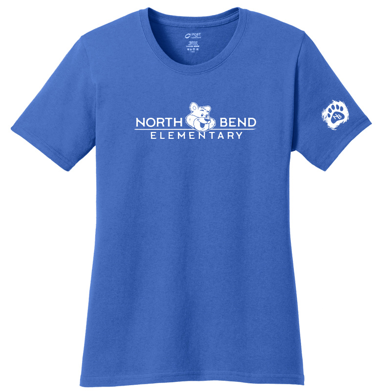 North Bend Elementary Ladies Core Cotton Tee - royal