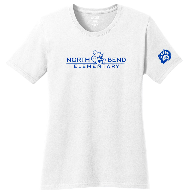 North Bend Elementary Ladies Core Cotton Tee - white