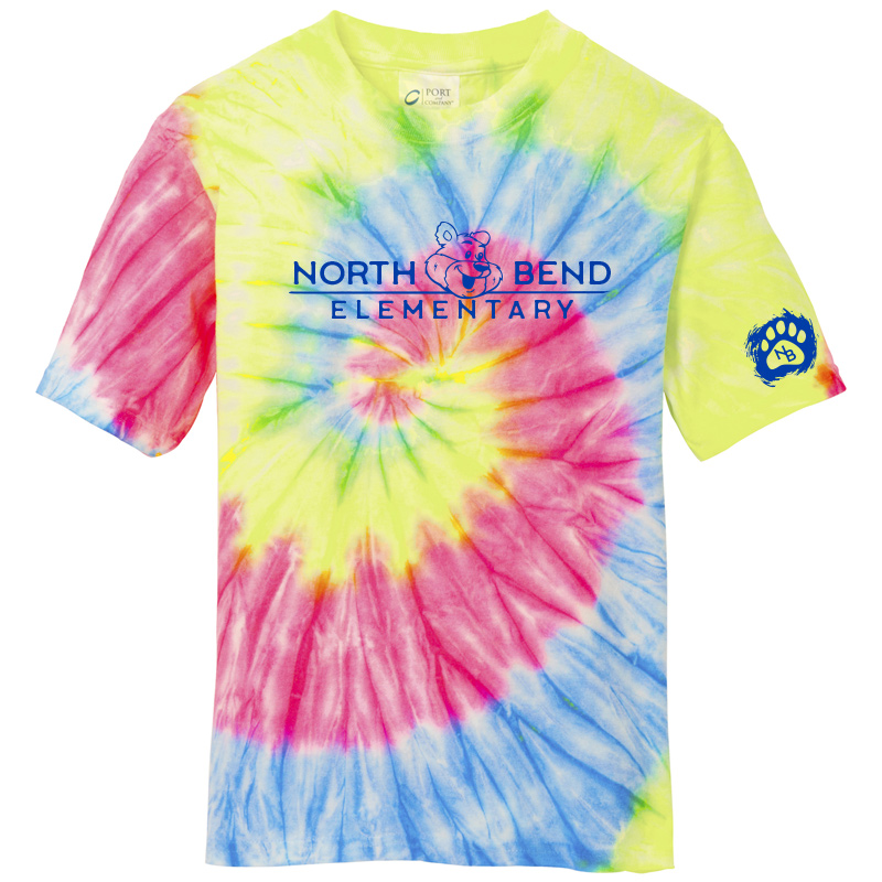 North Bend Elementary Tie-Dye Tee (Youth and Adult)  - neon rainbow